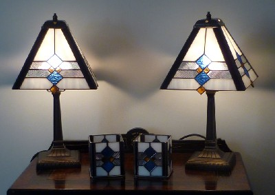 Custom designed Art Deco Style lamps and candle holders