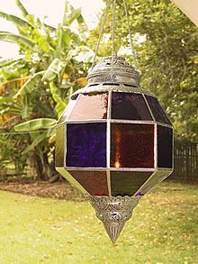 Candle lamp - with leadlight glass shade